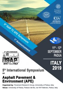 Poster: announcement of 5th ISAP APE Symposium 2019 in Padua, Italy