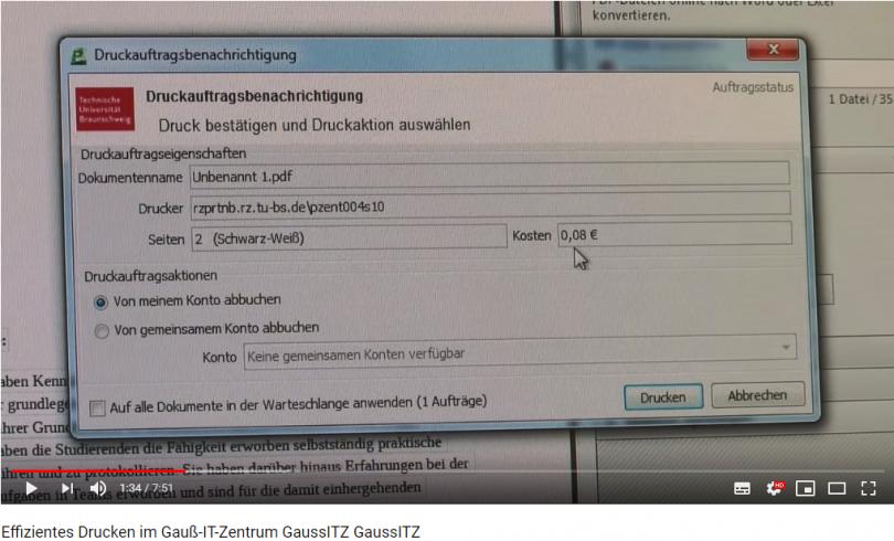 Symbolbild:Aktueller Film über das zentrale Drucksystem des Gauß-IT-Zentrums